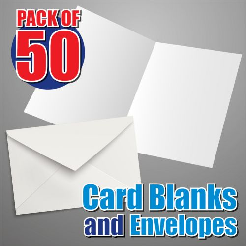 50 125mm Square Card Blanks and Envelopes