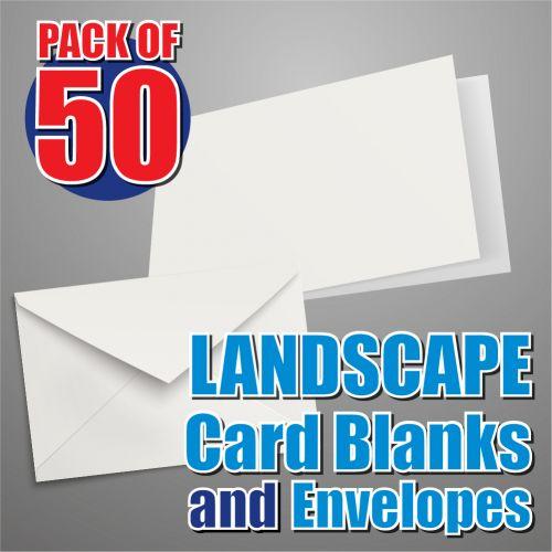 50 A6 Landscape Card Blanks and Envelopes